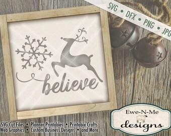 Christmas Reindeer Believe svg Cut File - Reindeer SVG Cutting File - Believe SVG Cut File - Snowflake SVG -  svg, png, dfx,  jpg