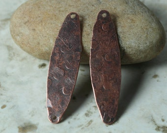Hand hammered antique copper oval link connector dangle drop size 38x10mm, 2 pcs (item ID XW00279ACP)