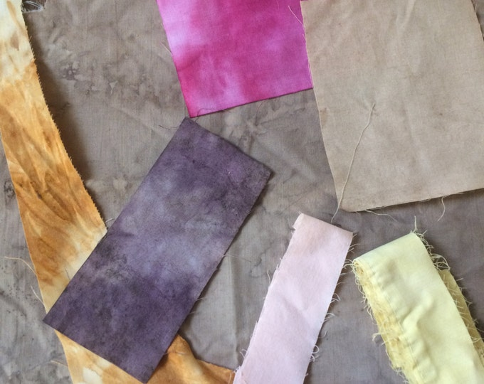Naturally dyed vintage cotton, fabric scrap pack, upcycled cotton fabric, naturally dyed fabric. quilting cotton, mending fabric, #4