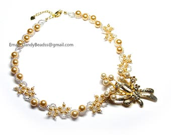 Swarovski necklace, Gold pearls and sparkle Gold rhinestones pearls necklace by CandyBead