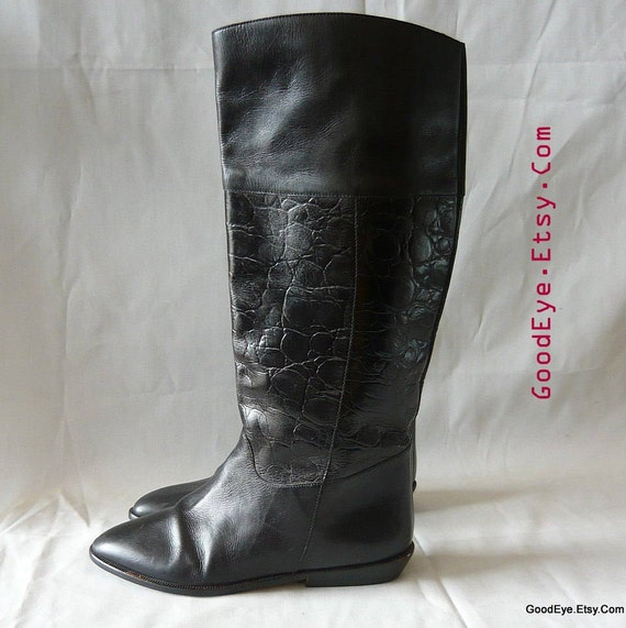 Vintage Leather Riding Boots size 6 M / Eu 36 UK 3 .5 / Black