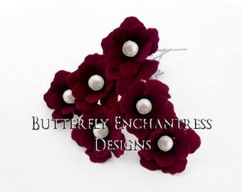 Wedding Hair Pins, Bridal Hair Pins, White Ivory Pearl Hair Pins, Floral Hair Accessory, Bridesmaid Hair Piece - 12 Burgundy Mini Buttercup