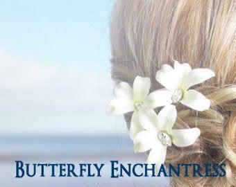 SALE Wedding Hair Accessories, Bridal Hair Flowers, Destination Wedding - 3 Jubilee Orchid Flower Hair Pins
