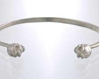 Lucky 13 double skull cuff bracelet sterling silver