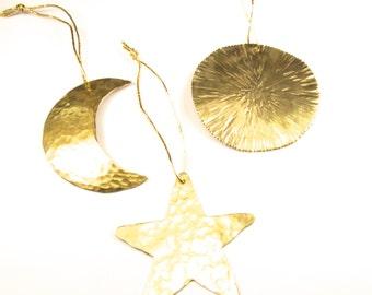 Set Of Three Christmas Tree Ornaments, Hand Made Sun, Moon & Star Christmas Tree Ornaments