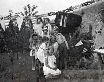 vintage photo 1928 Beautiful Children at Birthday Party Decoration Flags Art Deco era