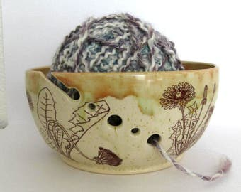Knitting Organizer -Yarn Bowl - Dandelions - Hand Thrown Ceramic Stoneware Pottery