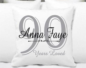 Personalized Birthday Pillow, 60, 70, 75, 80, 90, 95, 100 Years Loved Birthday Gift - Milestone birthday gift - grandma
