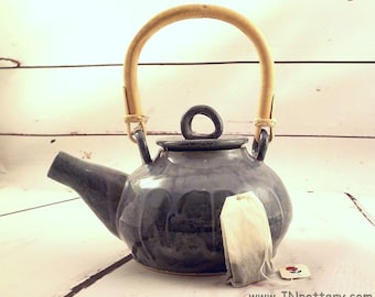 Ceramic Teapot - Handmade Stoneware - Natural Cane Handle - Tea Brewing and Serving Vessel - Muted Slate Blue Gray - Ready to Ship s527