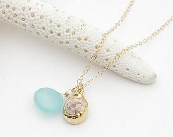 hawaiian puka shell gold dip aqua chalcedony drop briolette pendant necklace, modern gold necklace, hawaii jewelry, kailua jewelry