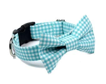 Aqua Gingham BowTie Dog Collar