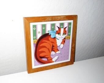 Cat Trivet - Vintage 1980's - by Vandor Peleman Design - Tile Trivet with Wood Frame and Base - Kitty Cat Kitchen Decor