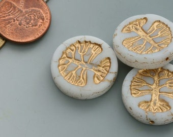 Tree of life. New! Czech glass coin bead. Priced per bead.