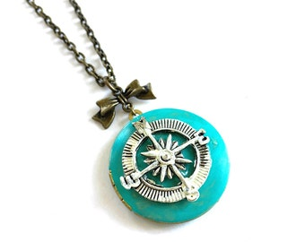 CLOSING DOWN SALE Teal Turquoise Patina Nautical Compass Vintage Brass Locket Necklace