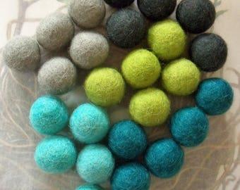 Wool Felt Balls / 25 Items / 1 Inch Diameter / Five Colors