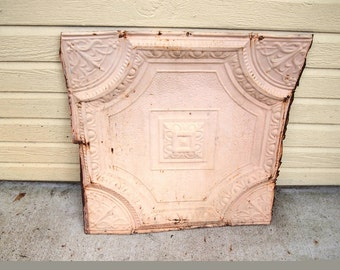 Vintage Ceiling Tin Panel, chippy shabby peach pink cream 23x24 inches
