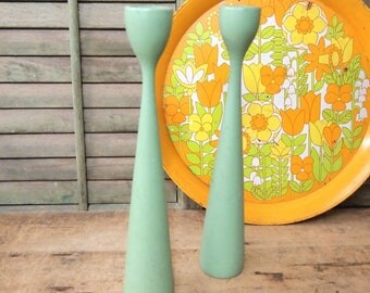 Two green retro candle sticks wood Mid-century Danish Modern