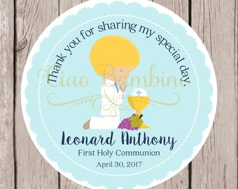 First Holy Communion Favor Tags in Powder Blue and White / Personalized Communion Stickers  / Choose Hair & Skin Color / Set of 12