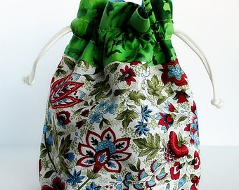 Knitting Project Bag, Purse, Crochet Project Bag, Cross-stitch Project bag, Drawstring Pouch, Drawstring Bag, Gift For Her, Gift for Knitter