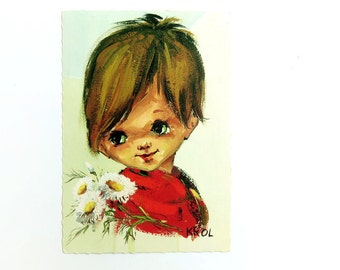 Vintage Postcard 1970s - Big Eyed Boy Portrait by Krol - Greeting Card - Unused 70s Dutch