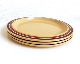 "Vintage 1970s Melamine Breakfast Plates - Rosti Mepal - Retro Danish Dutch Kitchenware - Set 3 Plastic Dishes 8.75""- By Koen de Winter P220"
