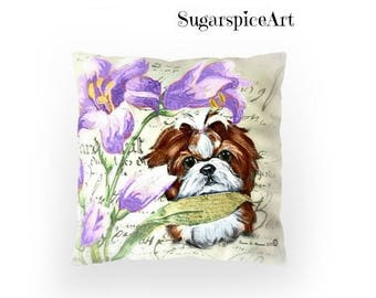 SugarspiceArt Lavender Floral Shih Tzu Pillow Cushion Home Decor by SugarspiceArt