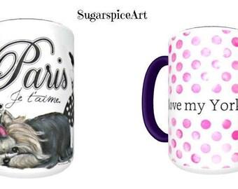 Yorkie Paris Large Mug by SugarspiceArt