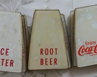 Five Vintage Soda Tabs..Coca-Cola..Grape..Root Beer