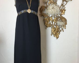 1960s dress black dress greek dress maxi dress size medium vintage dress black and gold lurex dress