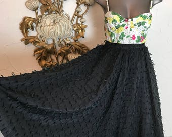 1950s skirt circle skirt eyelash skirt size small vintage skirt fringe skirt 26 waist tassel skirt full skirt black skirt
