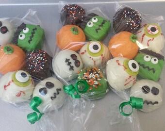 Cake Balls: Halloween Sampler of Bitty Bites. Includes Ghosts, Pumpkins, Skeletons and Frankensteins