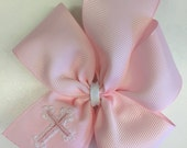 Cross Embroidered, Hair Bow, Baby Baptism, Precious Jesus, Smocked Bows, Embroider Girls, Monogrammed Gift, Personalized Pink, Christening
