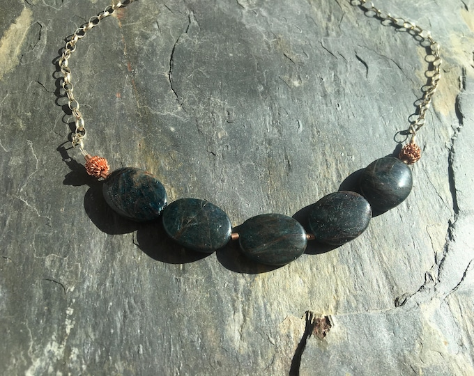 Apatite and Copper Accent Necklace in Sterling SIlver