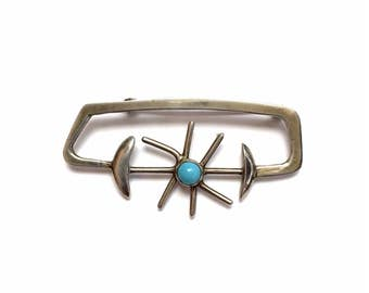 SALE   Vintage Silver and Turquoise Modernist Pin