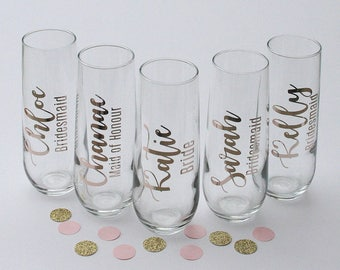 personalized stemless champagne flute / bridesmaid gift / getting ready glasses / champagne glasses / wedding party gifts