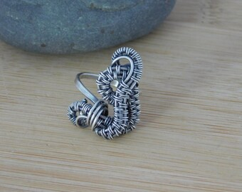 Sterling Silver Freeform Weave Woven Swirls Wire Boho Ring Oxidized Size 7.5 Wire Wrapped Jewelry Handmade