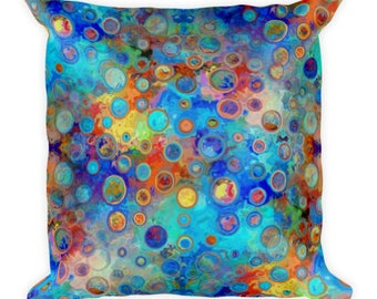 Vibrant Bold Blue Throw Decorative Designer Artist Created Pillow 18 inch Square with Zipper and Insert