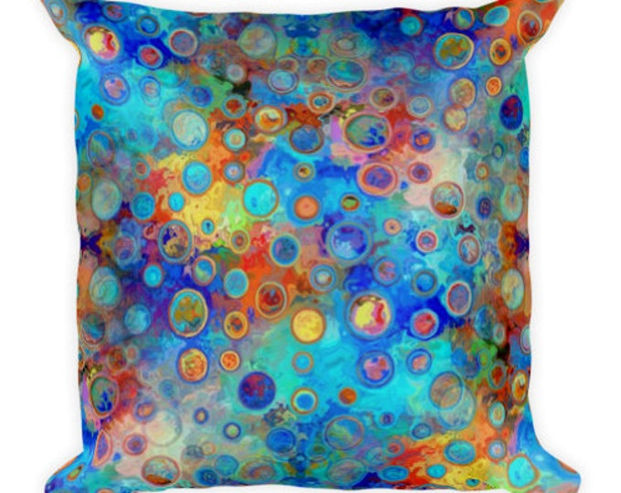 Featured listing image: Vibrant Bold Blue Throw Decorative Designer Artist Created Pillow 18 inch Square with Zipper and Insert