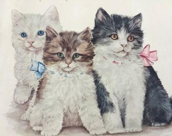 Cute Vintage kitten print