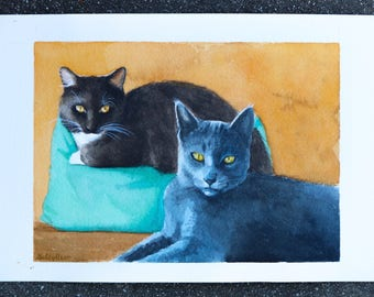 CUSTOM - watercolor - cat painting - made to order 5x7""