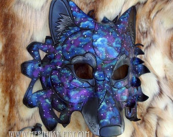 READY TO SHIP Celestial Dire Wolf Leather Mask... costume galaxy stars masquerade burning man mardi gras halloween festival