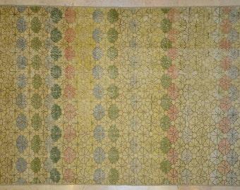 Rug Overdyed Vintage Multicolor Pale Floral Stripe 5'x 8'