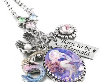 Mermaid Jewelry, Mermaid Charm Necklace, Mermaid Pendant, Fresh Water Pearl, Mermaid Charms