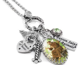 Saint Francis of Assisi the Patron Saint of Animals, Catholic Saint Necklace in Stainless Steel