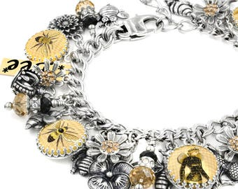 Bee Jewelry, Honey Bee, Bee Bracelet, Bumble Bee, Bee Charm Jewelry