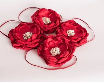 Cherry Love - Red Handmade Flower - Baby Headband, Toddler Headband, Girls Headband, Photo Prop