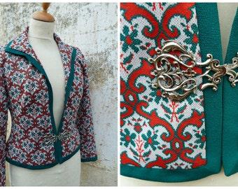 Vintage 1970/70s Tyrol trachten Folk printed jersey jacket dirndl size S