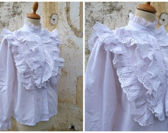 Vintage 1970/70s white ruffled Austria Trachten dirndl blouse puffed sleeves cotton size M