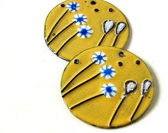 Yellow Flower Enamel Copper Charms