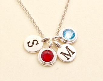 Silver Birthstone Initial Necklace - Family Necklace - Gifts For Her - Personalized Monogram Necklace - Gift For Daughter